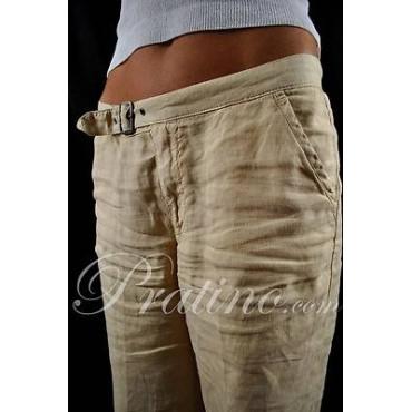 COTTON BELT Pantaloni Donna Puro Lino Beige 44 30 Vita Bassa Gamba Ampia - Cotton Belt Gonne e Pantaloni