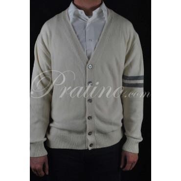 GANT Cardigan Uomo ScolloV 54/56 XXL Bianco Latte Lana/Angora -  Maglie e Pullover Cachemire
