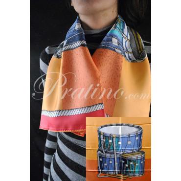 Fornasetti Foulard Drums Tamburi Arancio/Giallo Pura Seta 90x90 -  Abbigliamento Donna