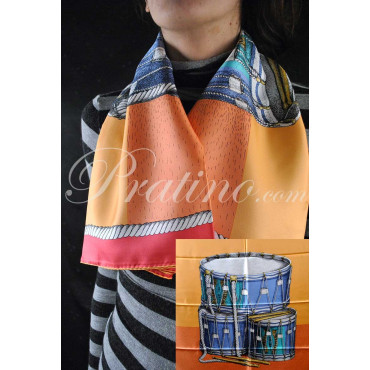 Fornasetti Scarf Drums Drums Orange/Yellow Pure Silk 90x90 - Women's Clothing