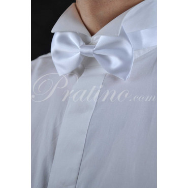 Bow tie bow Tie Man White 100% Pure Silk Made in Italy - Neckties and Accessories