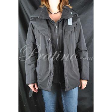 Giaccone Imbottito Lungo Donna 48 XL Nero Doppia Chiusura - Montereggi Giacche e Cappotti