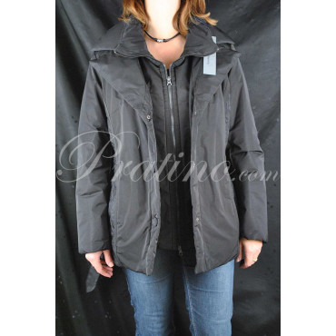 Jacket Padded Long Women's 48 XL Black Double Closure - Montereggi Jackets and Coats