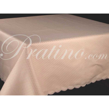 Rectangular Tablecloth x12 Light Pink Cotton Satin Checks +12 Napkins 180x270 8065 - Manifattura Toscana Table Linen