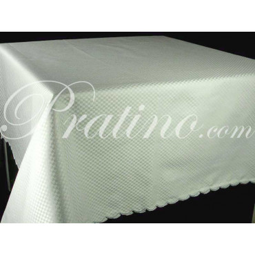 Tablecloth Rectangular x12 Cotton Satin Light Green Squares without Napkins 180x270 8063 - Tuscan Linen Table
