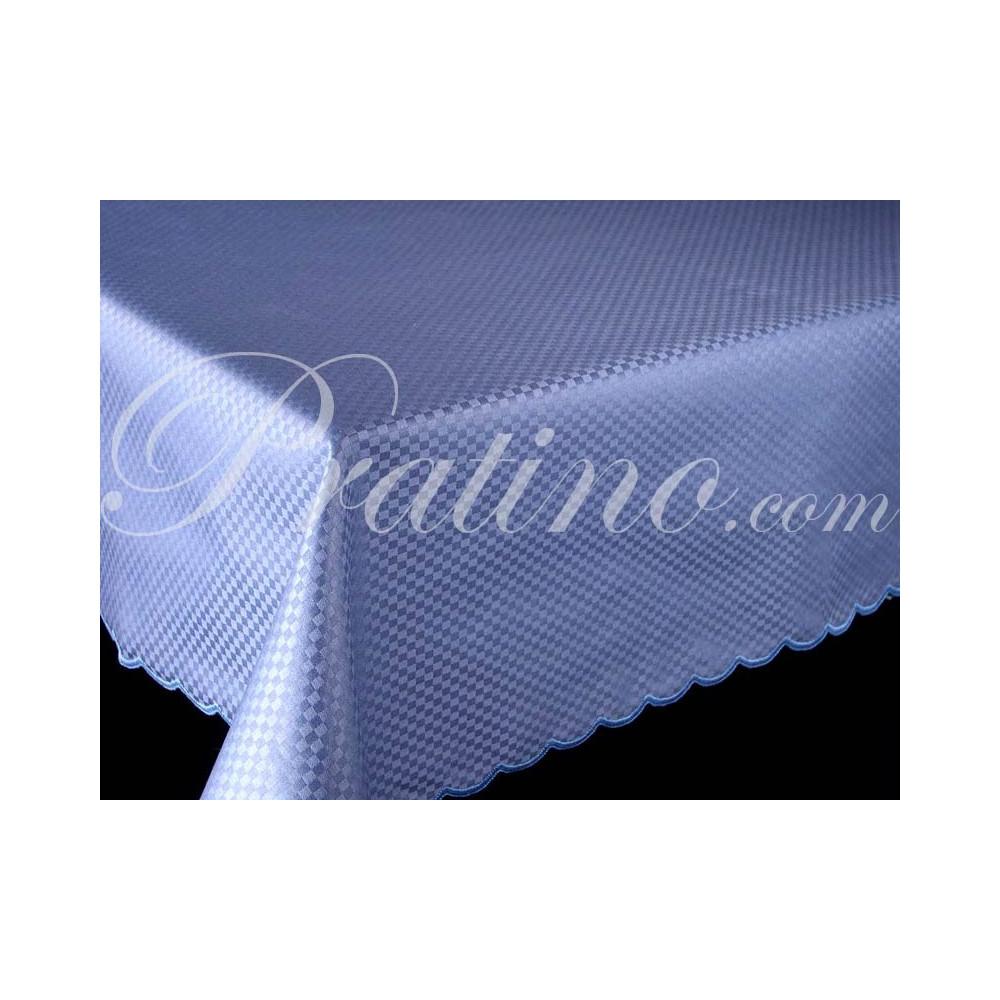 Tovaglia Rettangolare x12 Raso Cotone Blu Chiaro Cartazucchero Quadretti  senza Tovaglioli 180x270 8062 - Manifattura Toscana Bi