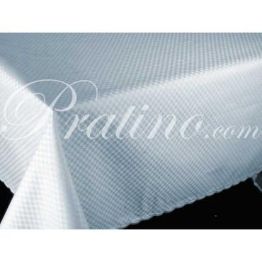 Tablecloth Rectangular x12 Cotton Satin Light blue Squares +12 Napkins 180x270 8060 - Tuscan Linen Table