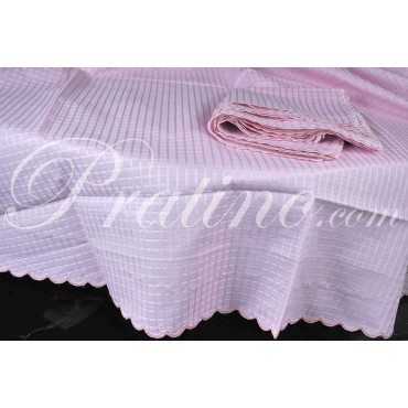 Round tablecloth x8 Organza Pink Squares Rebrodé diam180 +8 Napkins 8071 - Tuscan Table Linens and Cu