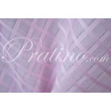 Mantel Rectangular x16 Organza Cuadrados Algodón Rosa Brillante +16 Servilletas 180x360 8071 - Manifattura Toscana Mesa Lino