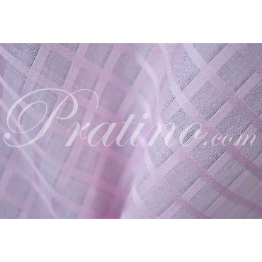 Tablecloth Rectangular x16 Organza Cotton Pink Squares +16 Napkins 180x360 8071 - Tuscan Linen Table