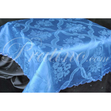 Mantel Rectangular x12 Flanders Ramo de Rombo Azul Oscuro sin Servilletas 180x270 8054 - Mantelería Manufacture Toscana