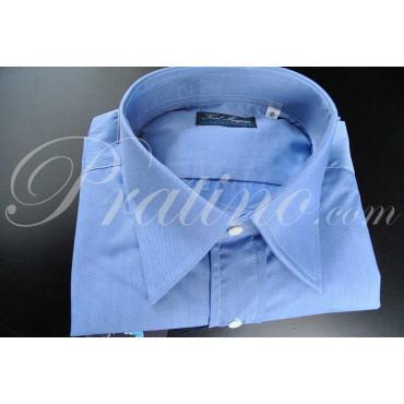 Camicia Uomo Classica Azzurra Collo Italia Down Twill Cotone da Abito Senza Taschino - Karl Morgan