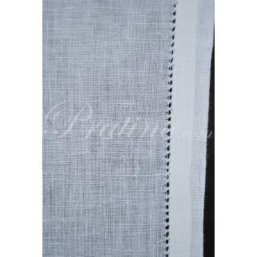 Coppia Tende Porta Finestra 55x230 Ricamo a Mano Grano e Papaveri - Misto Lino 0014