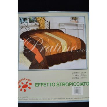 Copriletto Trapuntato Singolo Righe Arancio Giallo Marrone 180x260 Taffettà