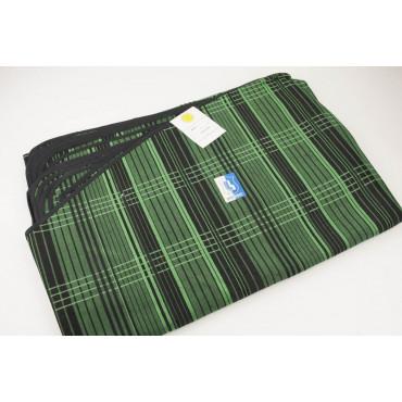 Tovaglia Ovale x12 Misto Lino Verde Nero Quadri 260x190 +12 Tovaglioli