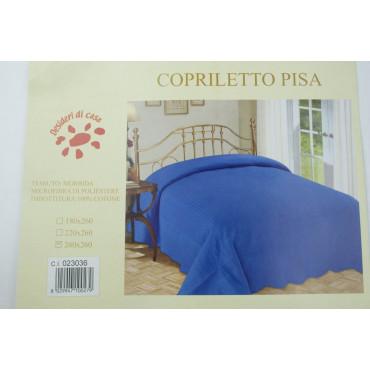 Quilt Copriletto Trapuntato Matrimoniale Tintaunita Azzurro 260x260 100% Puro Cotone