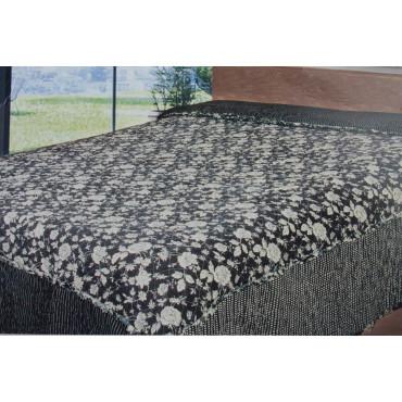 Couette couvre-lit Matelassé Lit Rose Blanche fond Noir 260x260 100% Pur Coton