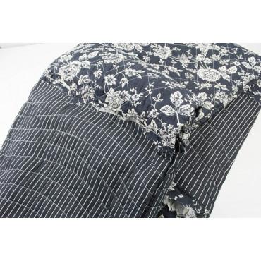 Quilt Copriletto Trapuntato Matrimoniale Rose Bianco sfondo Nero 260x260 100% Puro Cotone