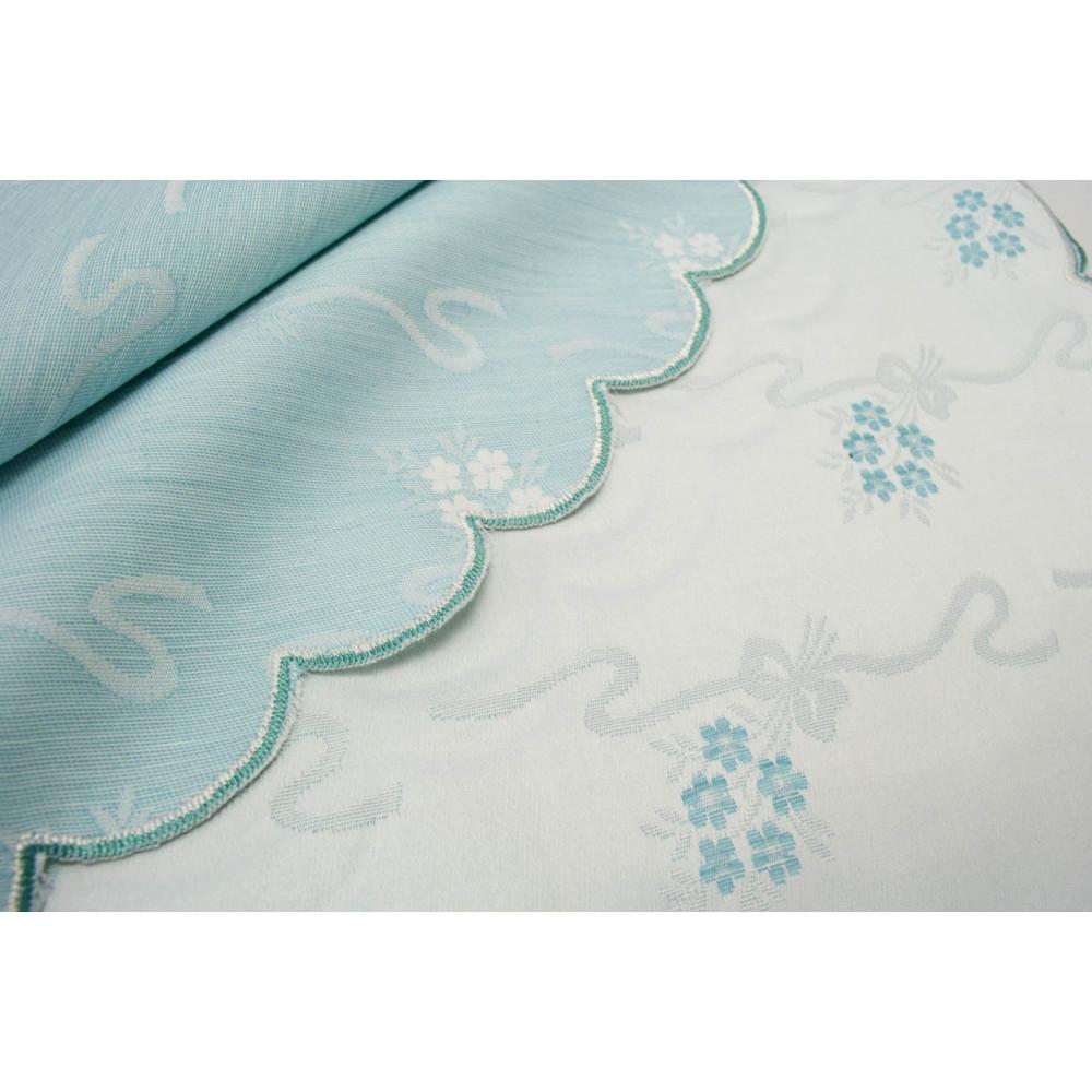 Double couvre-lit Satin de Coton Céleste Fleurs 270x270 réf. Rebrodé mod. Miriam