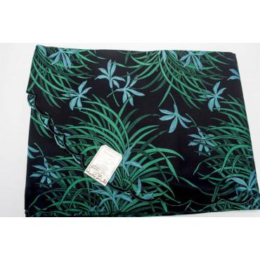 Copriletto Matrimoniale Raso Cotone Nero Verde Orchidee 270x270 Oasi rif. Smerlo