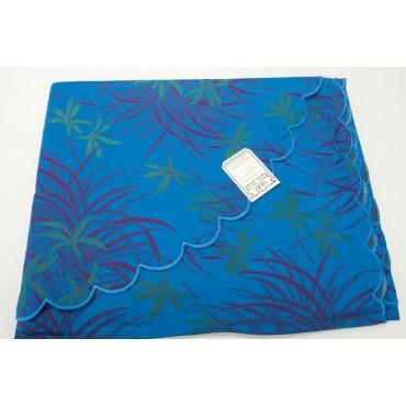 Double couvre-lit en Coton en Satin Bleu royal Fuchsia Orchidées 270x270 Oasis réf. Rebrodé
