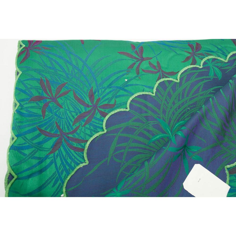 Copriletto Matrimoniale Raso Cotone Nero Grigio Turchese Orchidee 270x270 Oasi Bordo