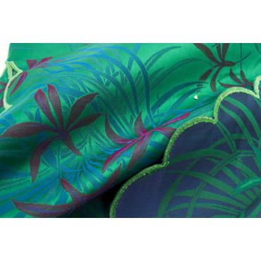 Double couvre-lit Satin de Coton Noir Gris Turquoise Orchidées 270x270 Oasis Conseil