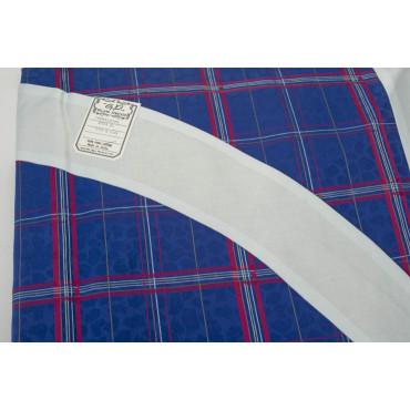 Copriletto Matrimoniale Raso Cotone Bluette Fucsia Scozzese Quadri 270x270 Bordo