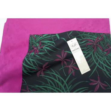 Double couvre-lit Satin de Coton Noir Fuchsia Vert Orchidées 270x270 Oasis Conseil
