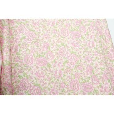 Copriletto Matrimoniale Raso di Cotone Roselline Rosa 270x270 Rose Smerlo