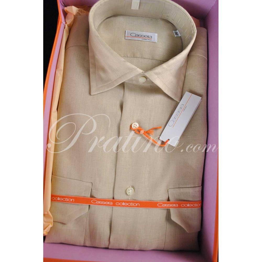 CASSERA Shirt Homme français 16 41 Pur Lin Beige