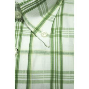 Camicia Uomo M 40-41 ButtonDown Quadri Verde Popeline