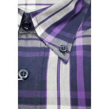 Homme shirt XL 44-45 ButtonDown Peintures Violet en Popeline à Carreaux