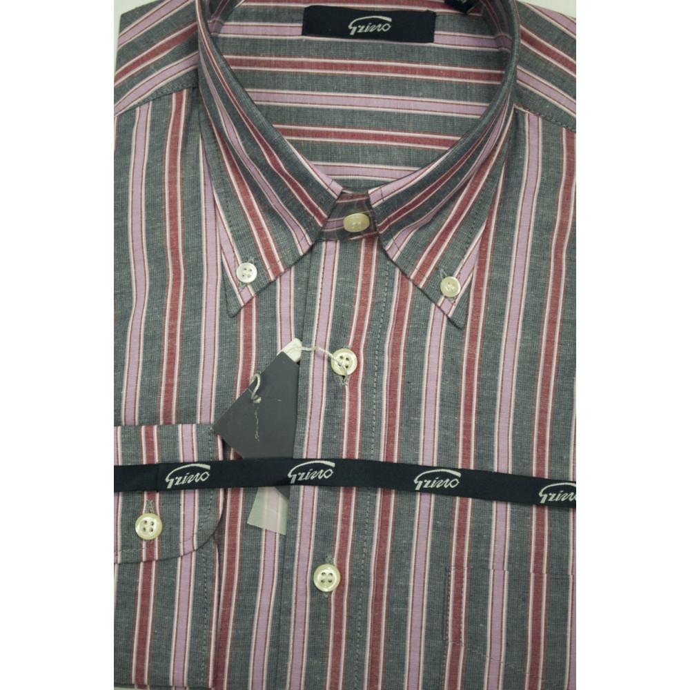 Camicia Uomo M 40-41 ButtonDown Righe Grigio Rosa e Rosso FilaFil