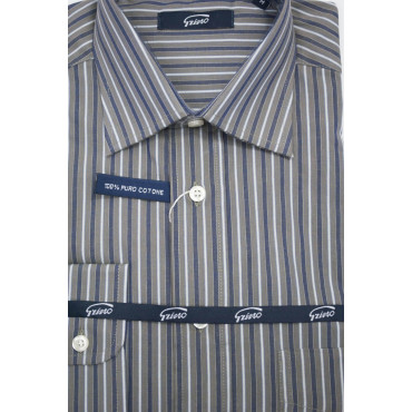 Camicia Uomo M 40-41 collo Francese Grigio Righe Blu e Bianco