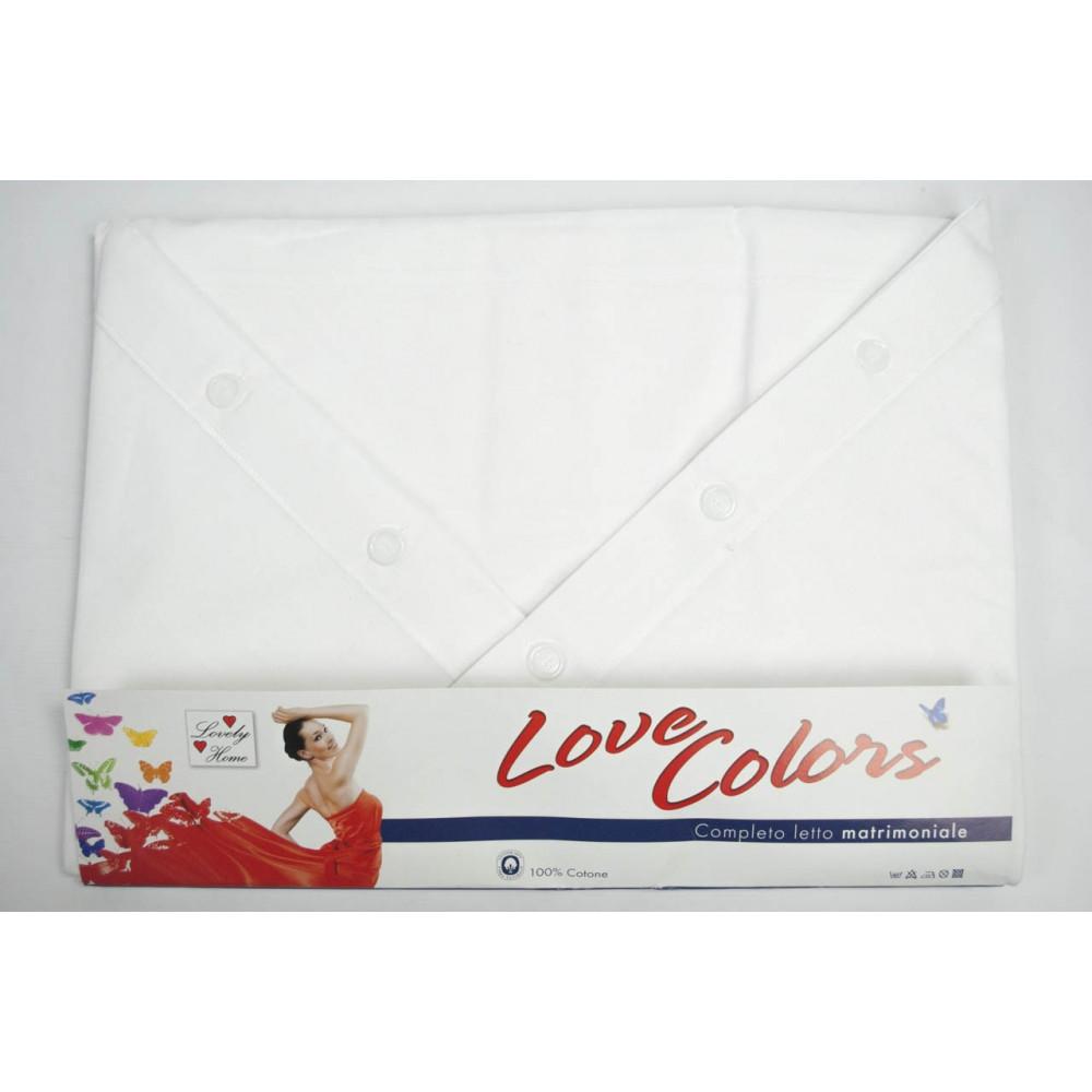 Completo Lenzuola Matrimoniale Bianco Tinta Unita Sotto Angoli