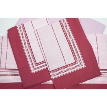Completo Lenzuola Matrimoniale Stampa Geometrica Rosa Rosso Sotto Angoli