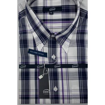 Homme shirt XL 44-45 Diamants Pourpres Plaid ButtonDown