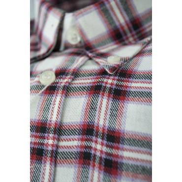 Camicia Uomo Flanella S 38-39 Quadri Rosso Nero ButtonDown
