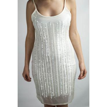 Abito Donna Mini Tubino Elegante M Bianco - Righe di Perline e Paillettes