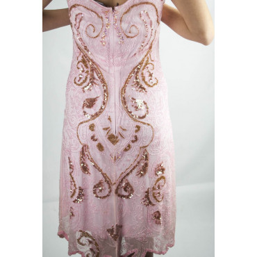 Abito Donna Tubino Elegante XL Rosa - Paillettes e Perline Arabesco