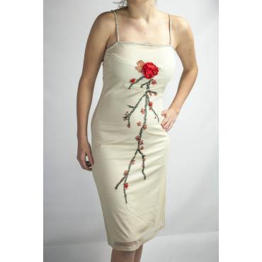 Abito Donna Tubino Elegante M Beige - Perline Fiore Rosso