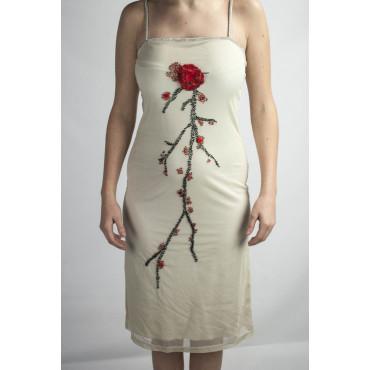 Robe Femmes Élégante Robe Fourreau M Beige - Perles Fleur Rouge
