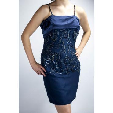 Vestido de las Mujeres Elegantes de la vaina Vestido de M Azul - Faja de Raso con Cuentas de Flores