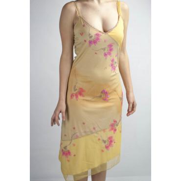 Robe Femmes Élégante Robe Fourreau L Jaune Ombré Rose de Fleurs de Perles