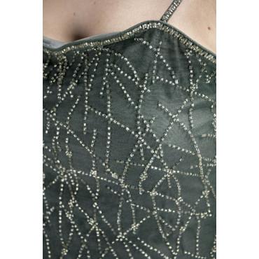 Abito Donna Mini Tubino Elegante M Grigio Scuro - Perline incrociate Argento