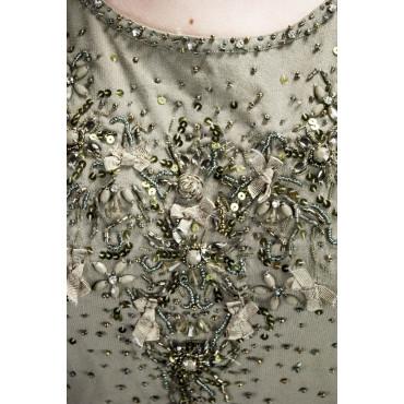 Canotta Donna Elegante M Khaki - Paillettes e Perline - Regina Schrecker