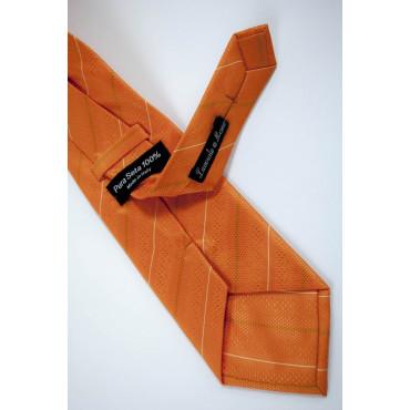 Cravatta Arancio Regimental Sottile Bianco - 100% Pura Seta - Made in Italy