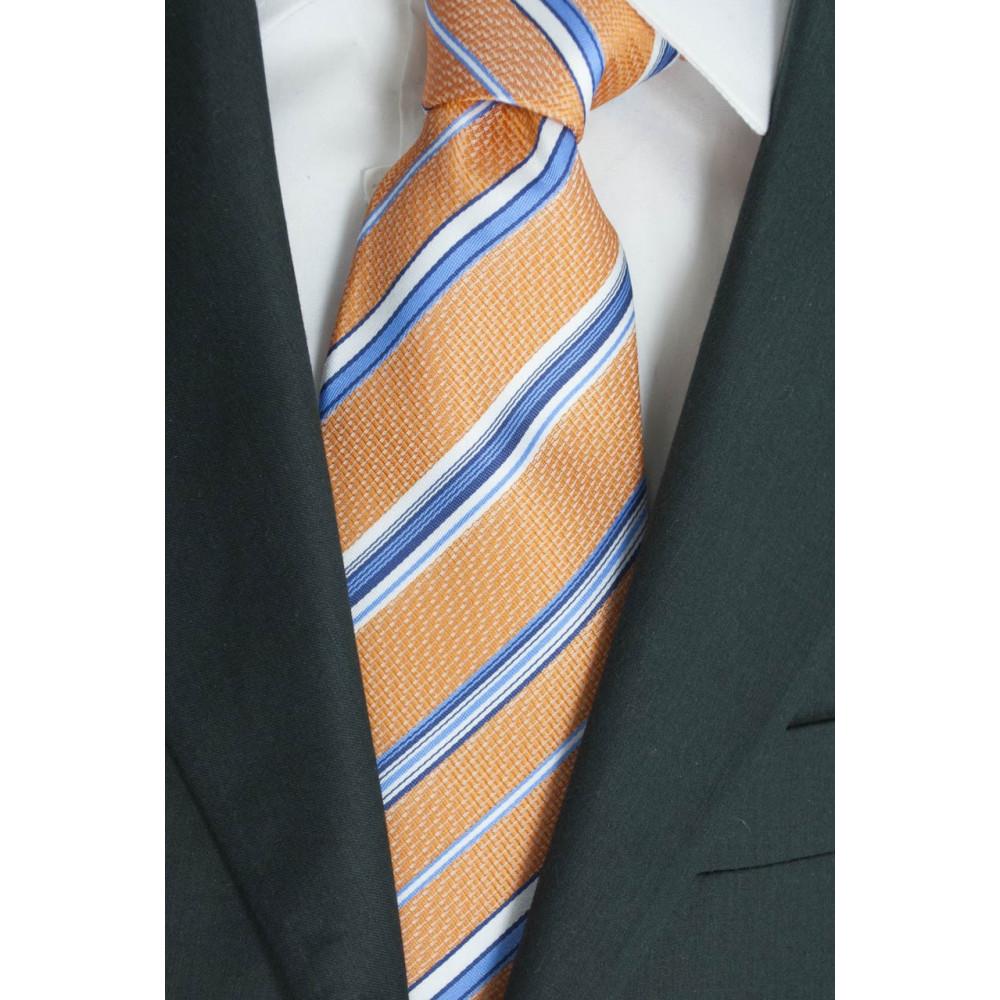 Cravatta Arancio Regimental Azzurro Bianco - 100% Pura Seta - Made in Italy