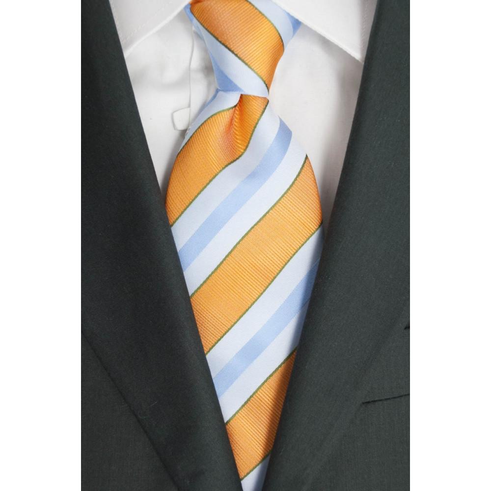 Cravatta Arancio Regimental Celeste - 100% Pura Seta - Made in Italy